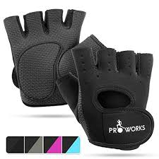 proworks las fingerless gym gloves padded weight lifting