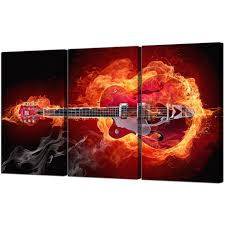 fiery guitar canvas pictures three part for your boys bedroom pertaining to current guitar canvas wall on guitar canvas wall art red with photos of guitar canvas wall art showing 13 of 15 photos