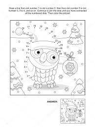 Small Picture Dot to dot and coloring page with christmas owl Stock Vector