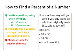 how to find a percent of a number 1 write equation using the