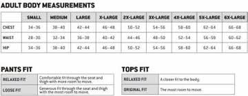 Carhartt Size Chart Jacket Pants Overalls Shirts Coats