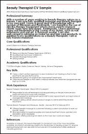 cv for beauty therapist beauty therapist cv sample myperfectcv