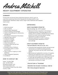 Heavy Equipment Operator Resume Samples Templates Pdfword 2019