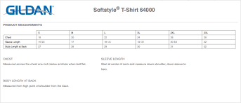 Gildan Soft Style T Shirt Size Chart The Best Style In 2018