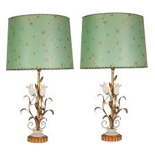 italian gilt metal and alabaster tulip lamps with custom parchment lampshades for