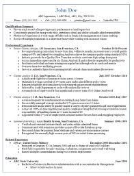 Claims Analyst Resume Example Insurance