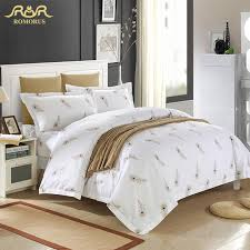 whole luxury white hotel duvet cover set quality king queen size bed linen cover 100 cotton bedding set with feathers bed in a bag baseball bedding