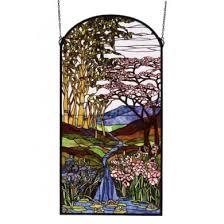 meyda tiffany 82921 22x43 inch waterfall iris birch stained glass window light blue pink purple blue