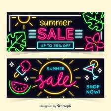 Free Vector | <b>Neon summer</b> sale banners