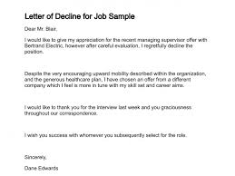 Letter Of Decline Simple Letter Of Intent For Job New Position