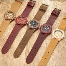 mens leather watch fashion 2017 luxury wood dress quartz wrisches las bracelet earth casual watch clock relogio feminino v207