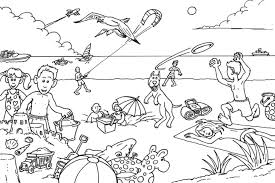 At The Beach Coloring Beach Colouring Pages For Adults Coloring