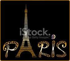 Paříže S Eiffelovy Věže Nápisy A Kresby Noční Město Vektory Z