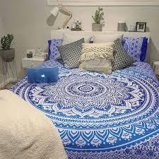 classic blue medallion ombre mandala duvet cover set of 2 pillow covers royalfurnish com
