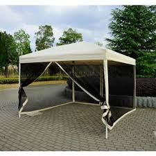 Tent furniture Sofa Outsunny 10 10 Easy Pop Up Canopy Shade Tent With Mesh Sidewalls Beige Outdoor Patio Tent Gazebo Umbrellas Rattan Furniture Gardening