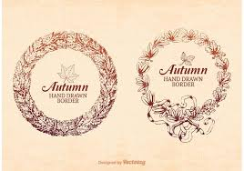 free hand drawn autumn frame border vector