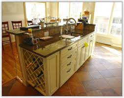 Kitchen Island Ideas, Charming Shiny Two Leveled Brown Kitchen Island With  Wine Rack With Sink