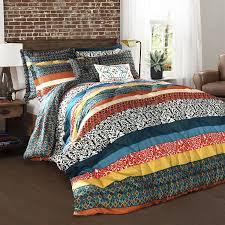 lush decor boho stripe 7 piece turquoise tangerine full queen comforter set