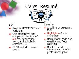 3 CV vs. Resum Resume CV A selling or screening tool