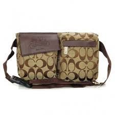 High-End Coach New In Signature Small Khaki Crossbody Bags BAR