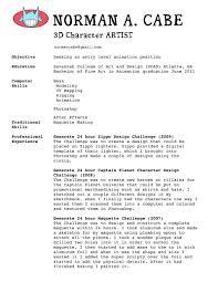 Cute 3d Animator Resume Format Gallery Documentation Template