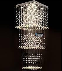 modern square rain drop led k9 crystal chandelier pendant light ceiling lighting