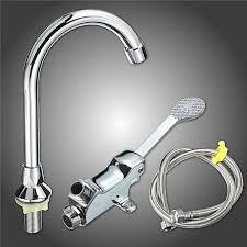 2pcs single handle foot pedal valve faucet kitchen bathroom copper basin sink tap 9 sliver