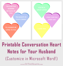 Microsoft Word Hearts Printable Candy Heart Encouragement Notes