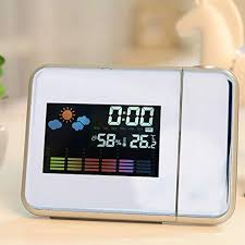 Time <b>Projector</b> Clock with Big Digit <b>LED Screen</b> Weather Forecast ...