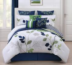 image of grey and blue bedding print