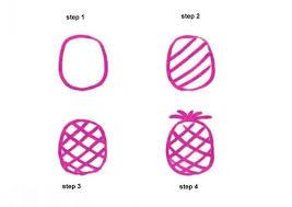 pineapple drawing. pineapple 4 steps drawing