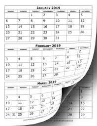 printable 6 month calendar 2019 printable 2019 calendar three months per page