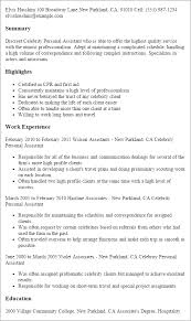 Resume Templates: Celebrity Personal Assistant