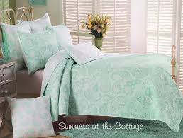 this beautiful sea glass mint green bedding reverses to a very soft cottage green paisley on white