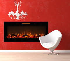 elite flame 50 fusion log built in smokeless wall mounted electric fireplace