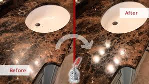 before and after picture of a marble countertop stone honing and polishing in bwood tennessee