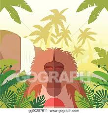 jungle background clipart. Delighful Clipart Baboon On The Jungle Background For Clipart