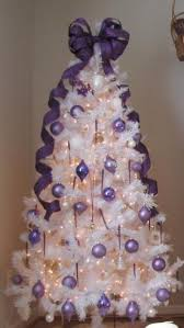 White Christmas Tree With Purple Ornaments
