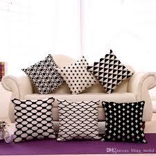 black white abstract art pillow case plaid stripes decor sofa throw pillow case linen cushion pillow cover home supplies 13 types yfa142 replacement outdoor