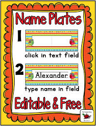 free name plates and type student name would be great to place these