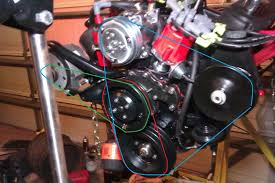 belt layout cadillac bigblock engines maximum torque the blue one is the same as the first photo connecting ac and power steering the red one is to connect the water pump to the balancer and the green is to
