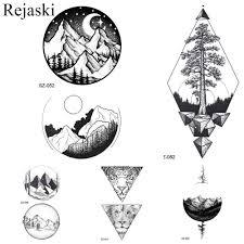 Rejaski геометрические круглые татуировки наклейки женщины Arm Art временные