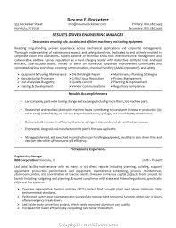 Manufacturing Engineering Manager Resume Resume Template