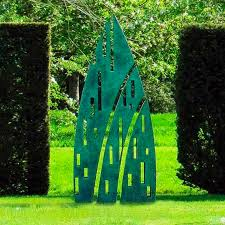 bronze sculpture polished stainless steel garden for public spaces eveque