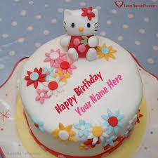 Cute Kitty Birthday Cake For Girls With Name