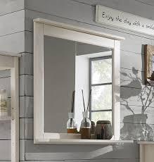 Badezimmer Spiegel 67x67cm Kiefer Weiß Lasiert Badspiegel