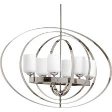 progress lighting equinox 6 light polished nickel orb chandelier with opal etched glass