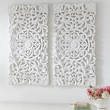 carved wood 3 piece wall art