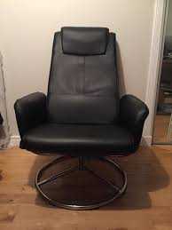 like new black leather reclining gaming chair office armchair