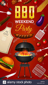 Bbq Poster Barbecue Grill Elements Set Isolated On Red Background Bbq Party